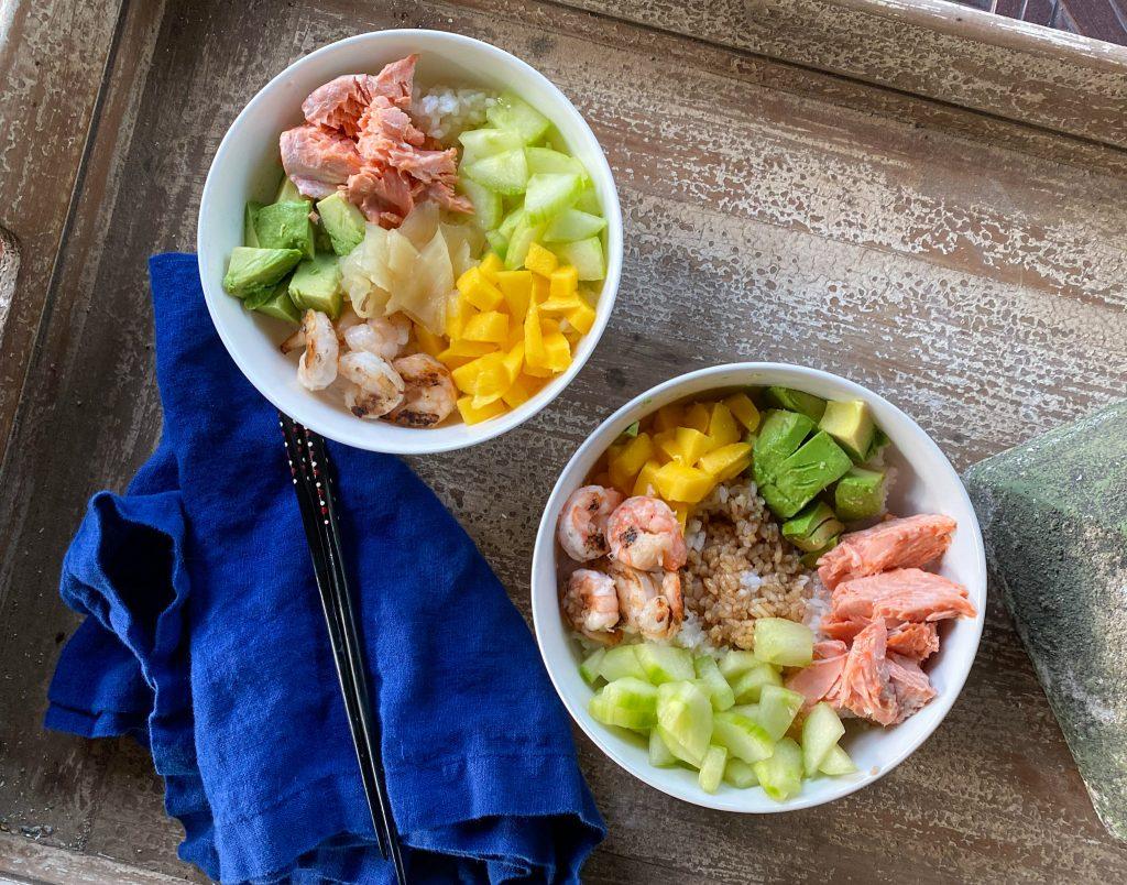 two poke bowls