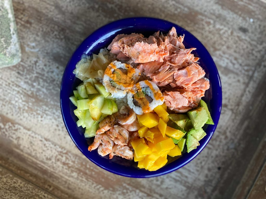 a finished poke bowl - clean and delicious