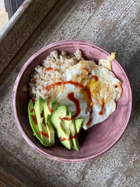 The basic bowl - egg, brown rice, avocado and sriracha