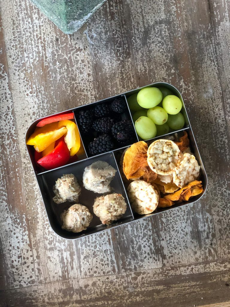 paleo meatballs in a lunchbox