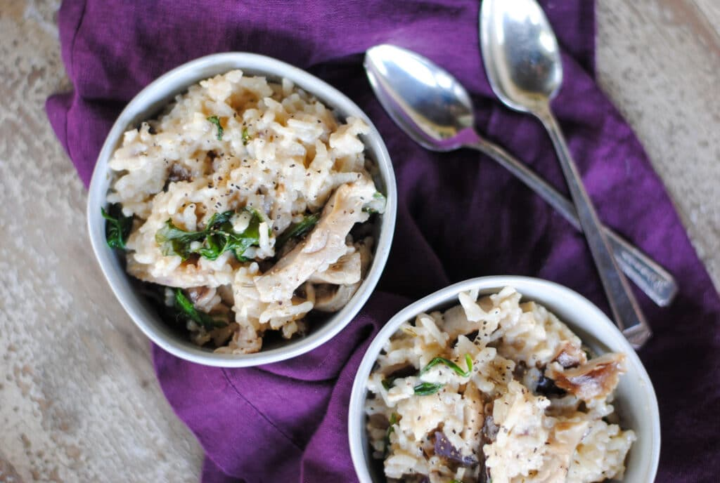 Easy dairy-free mushroom risotto made in the instant pot