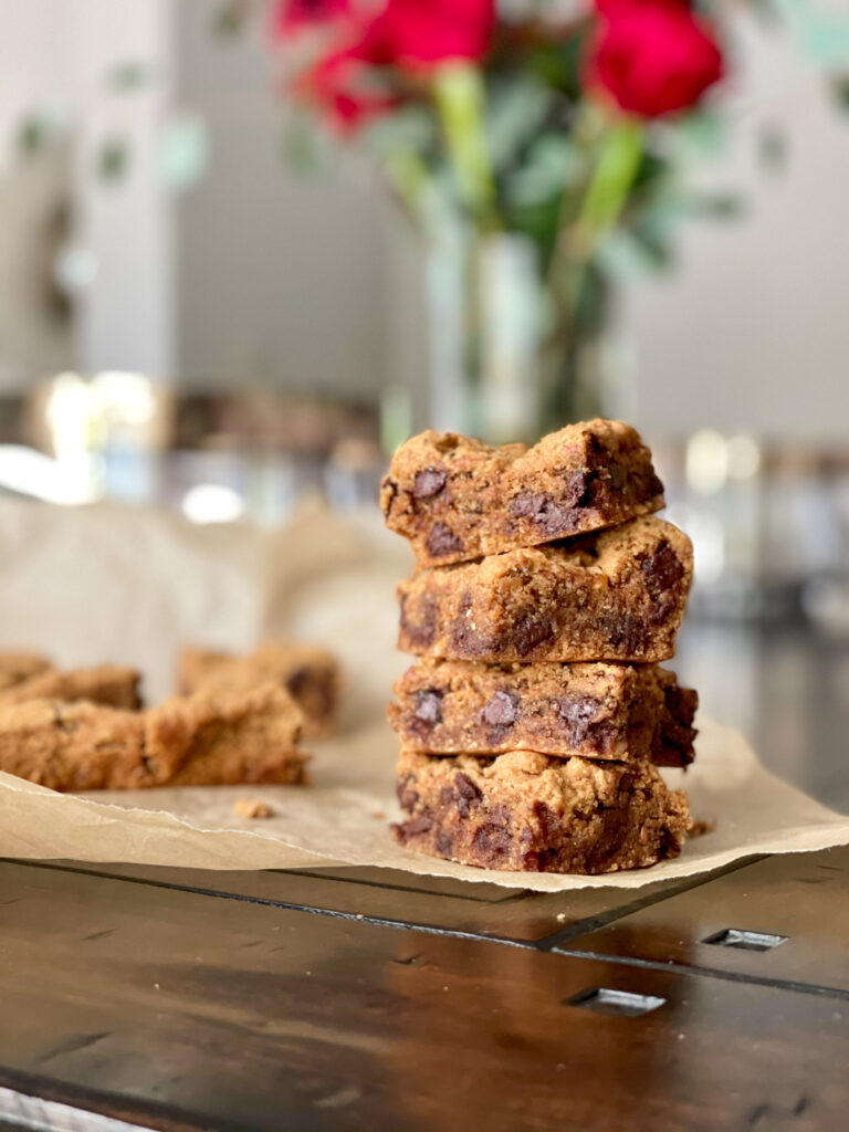 grain-free chocolate chip cookie bars stacked