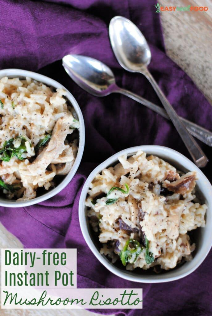 dairy-free instant pot mushroom risotto - easy risotto recipe