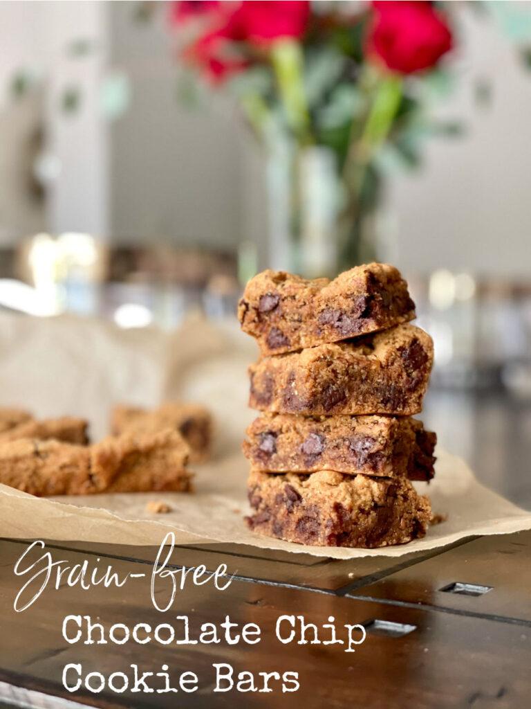 paleo grain-free chocolate chip cookie bars