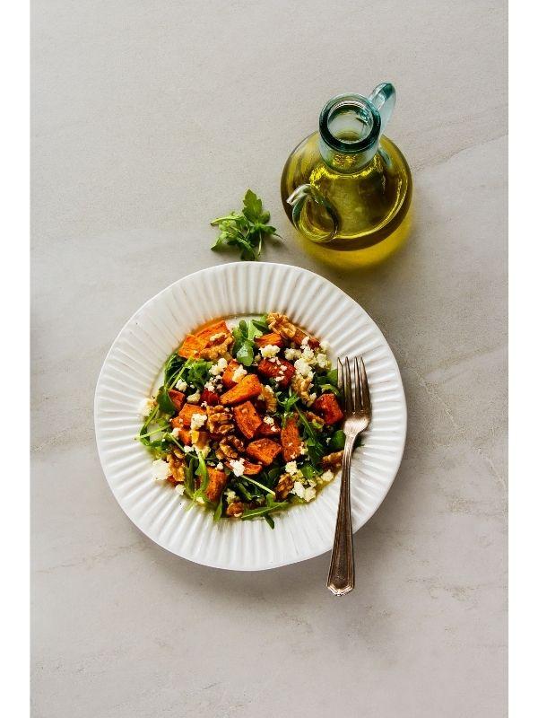 sweet potatoes on a salad