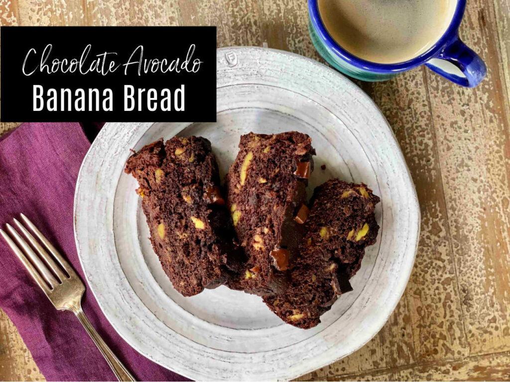 chocolate avocado banana bread horizontal