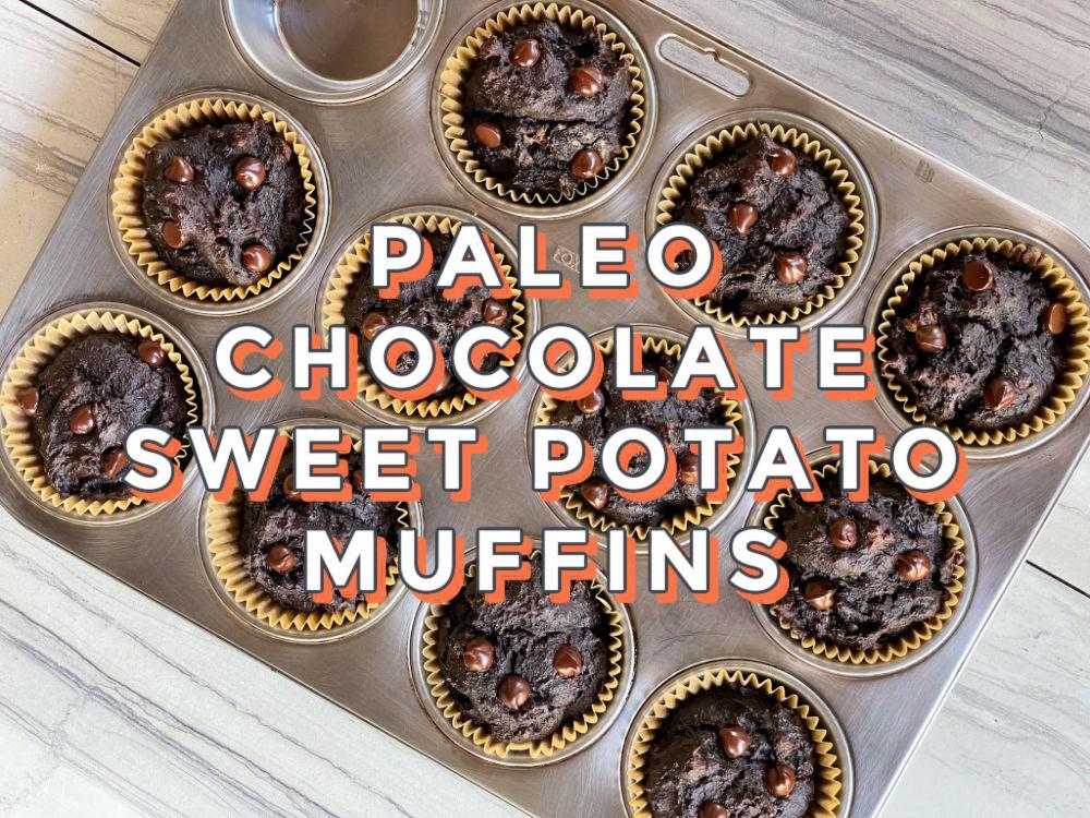 Paleo grain free chocolate sweet potato muffins