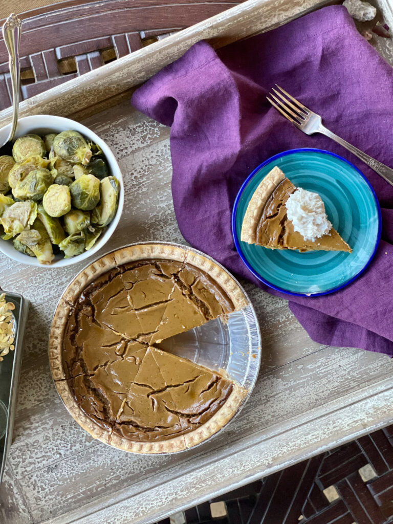 Thanksgiving setting with dairy free pumpkin pie