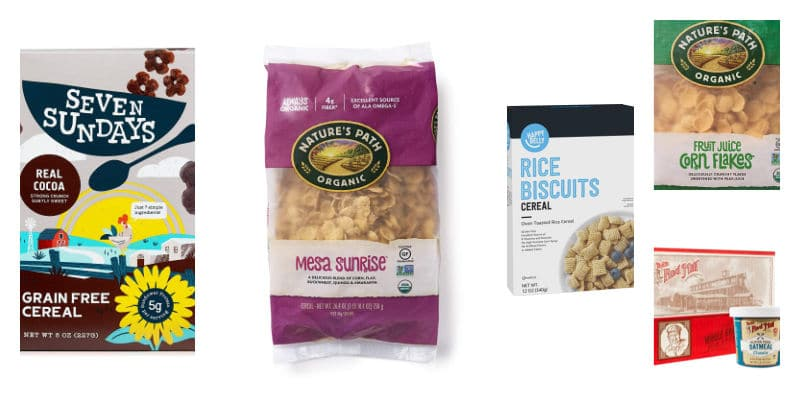 collage of gluten free cereals